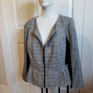 Elle Career Blazer jacket grey black Tweed lined